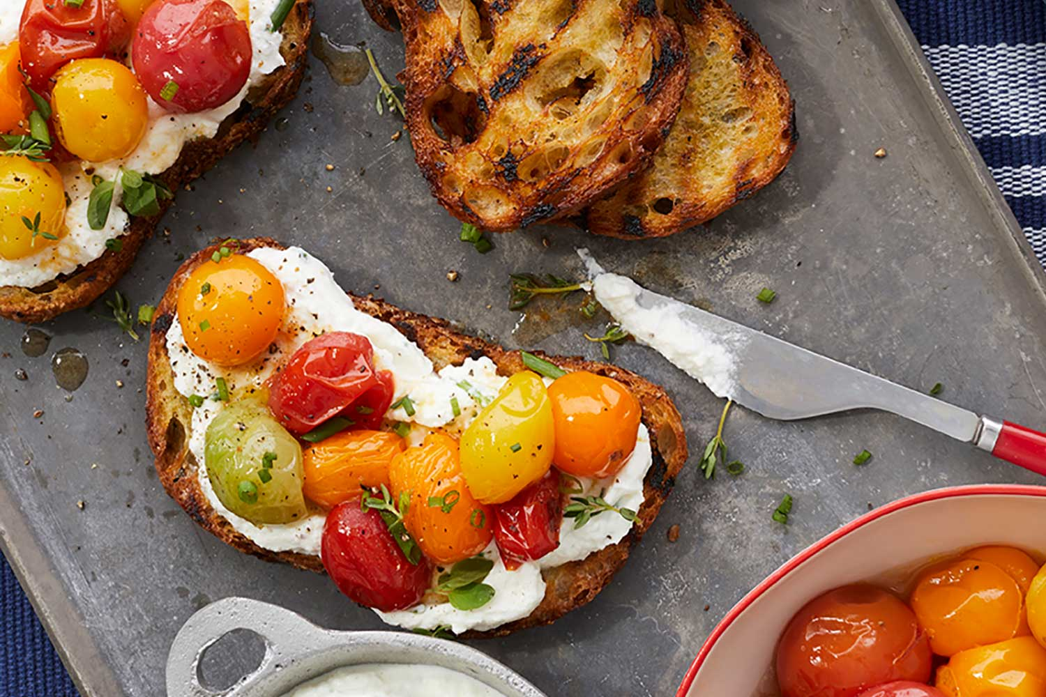 Roasted Cherry Tomatoes & Home-Smoked Ricotta on Grilled Toast