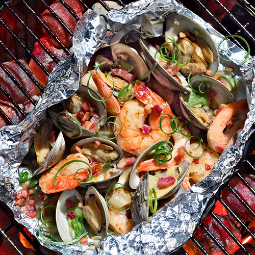Vietnamese Clams & Shrimp with Crispy Pancetta